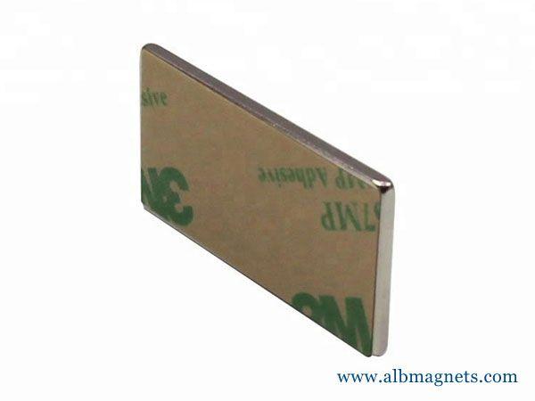 40x20x2mm block neodymium magnet with self adhesive