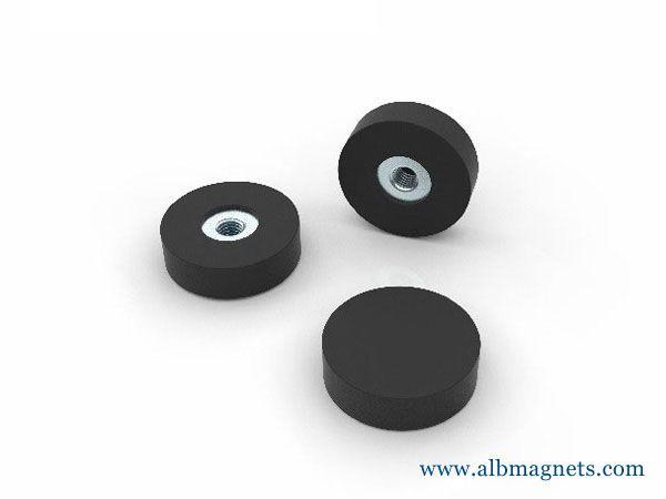 d25mm santoprene rubber coated pot magnet with