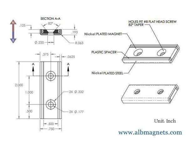 fastening n52 neodymium tube magnet holding channel