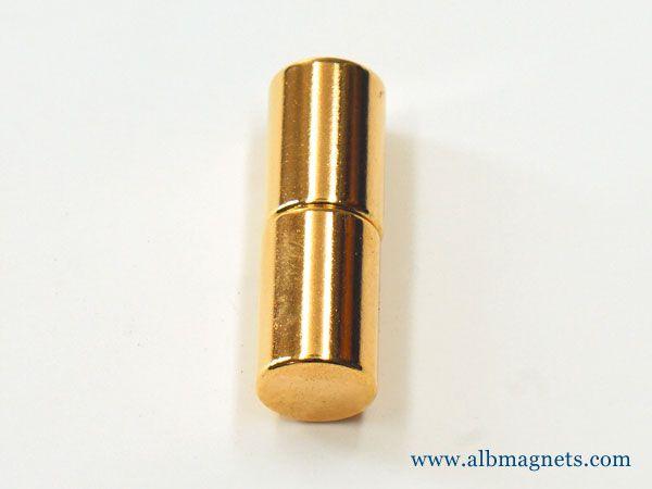 high quality gold plated cylinder n52 neodymium