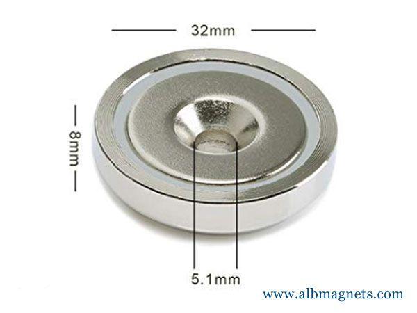 wall mounting neodymium holes pot magnet