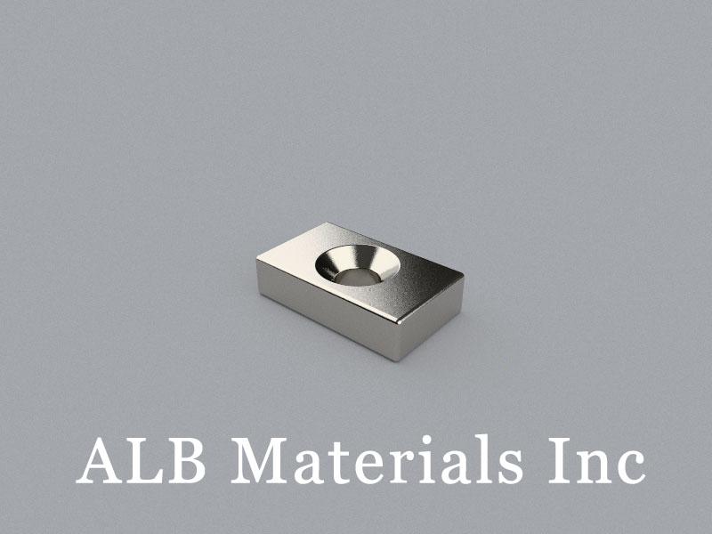 CB-W12H5L20D5/D7 Neodymium Magnet, 20x12x5mm with countersunk hole d5/7 Block Magnet