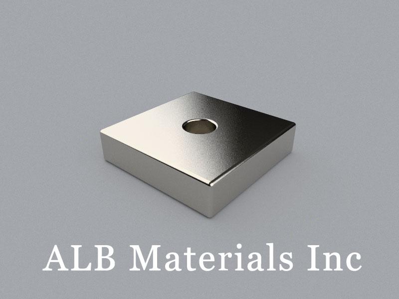 B-W20H5L20D4.5-N38M Neodymium Magnet, 20x20x5mm with D4.5mm hole Block Magnet