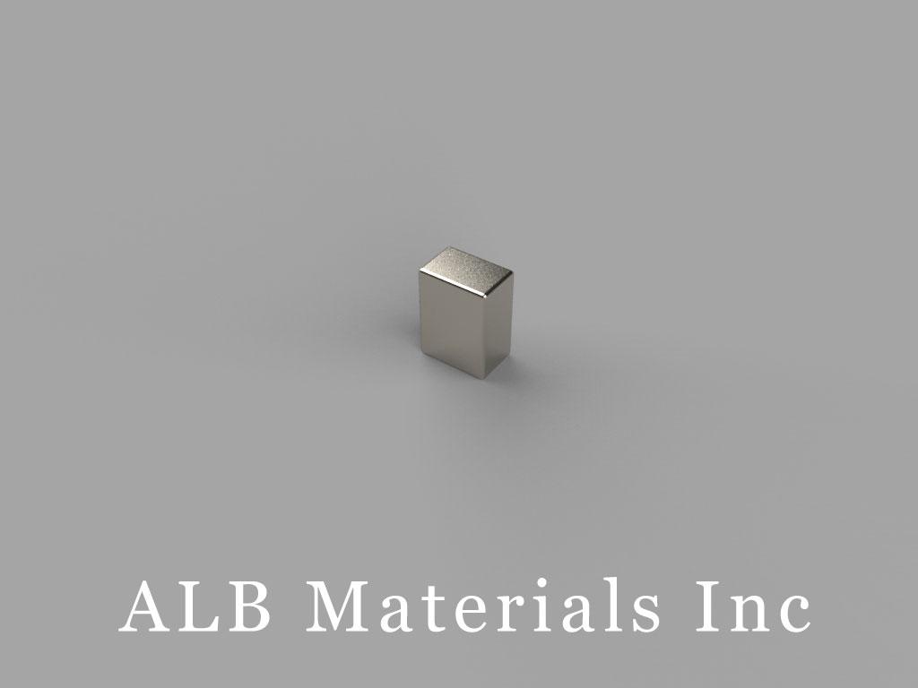 "B324-N45 Neodymium Block Magnets, 3/16"" x 1/8"" x 1/4"" thick, Pull force(lbs): 4.17, Max Temp 80°C"