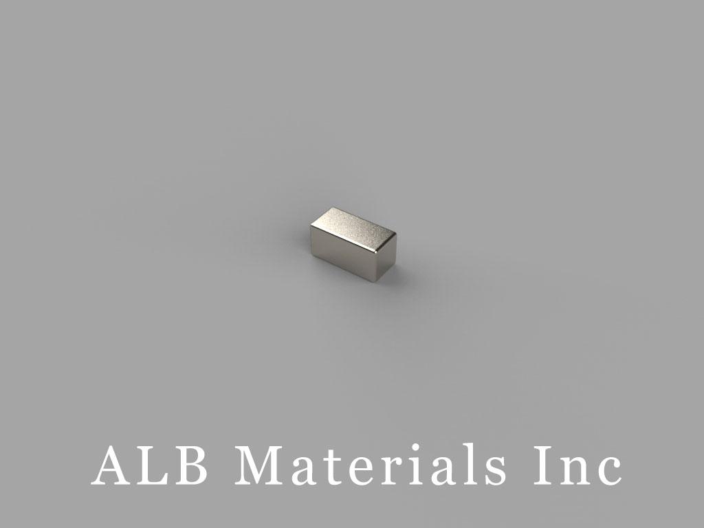 "B422-N45 Neodymium Block Magnets, 1/4"" x 1/8"" x 1/8"" thick, Pull force(lbs): 2.41, Max Temp 80°C"