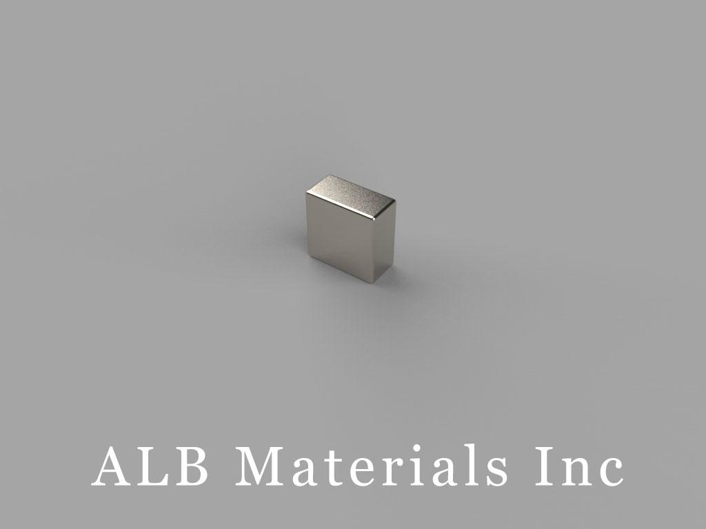 "B424-N48 Neodymium Block Magnets, 1/4"" x 1/8"" x 1/4"" thick, Pull force(lbs): 5.17, Max Temp 80°C"