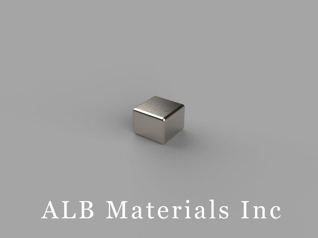 "B443-N50 Neodymium Block Magnets, 1/4"" x 1/4"" x 3/16"" thick, Pull force(lbs): 5.72, Max Temp 80°C"