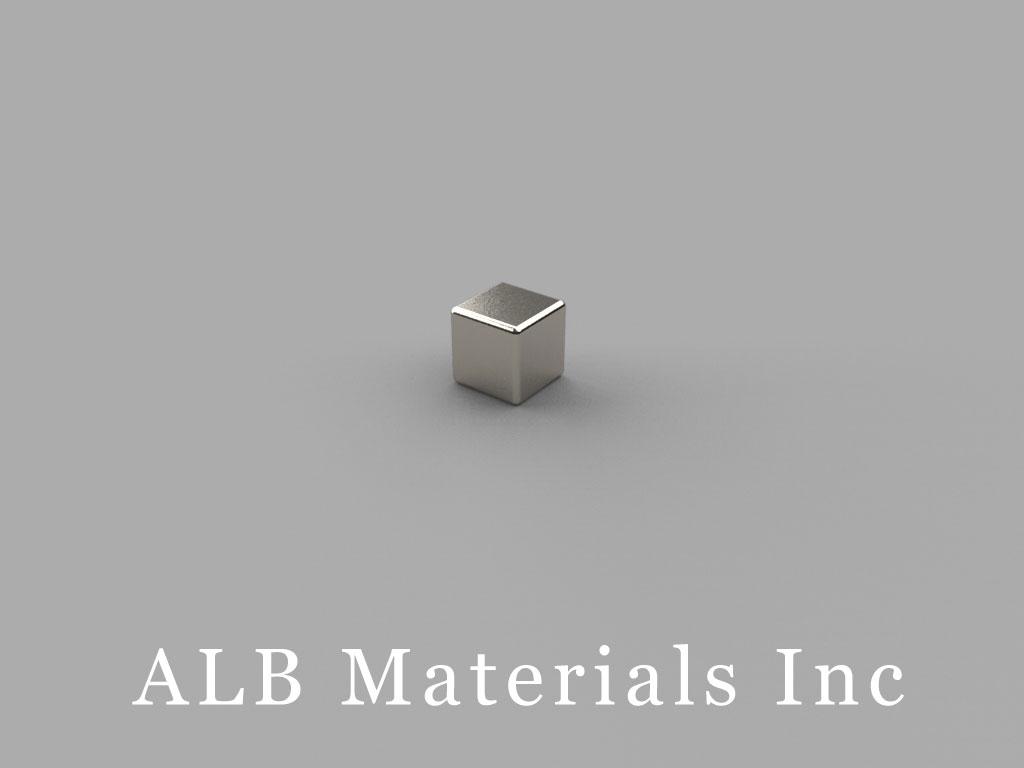 B444-1 Neodymium Magnets, 1/4 inch x 1/4 inch x 1/4 inch (- 1/16 inch hole)