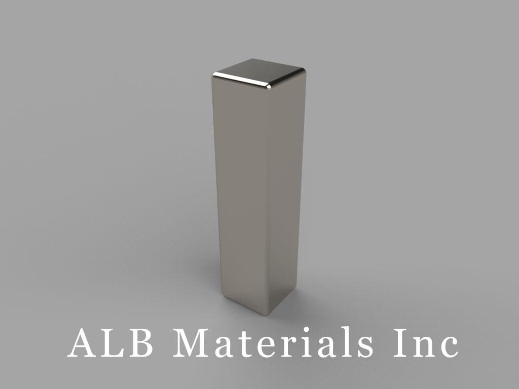 "B44X0-N50 Neodymium Block Magnets, 1/4"" x 1/4"" x 1"" thick, Pull force(lbs): 30.49, Max Temp 80°C"