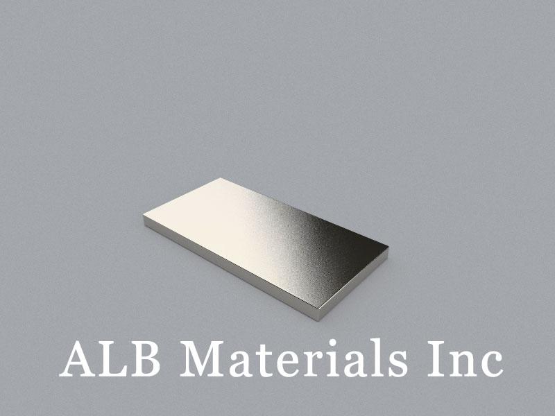 B-W25.4H3.175L50.8-N52 Neodymium Magnet, 50.8x25.4x3.175mm Block Magnet