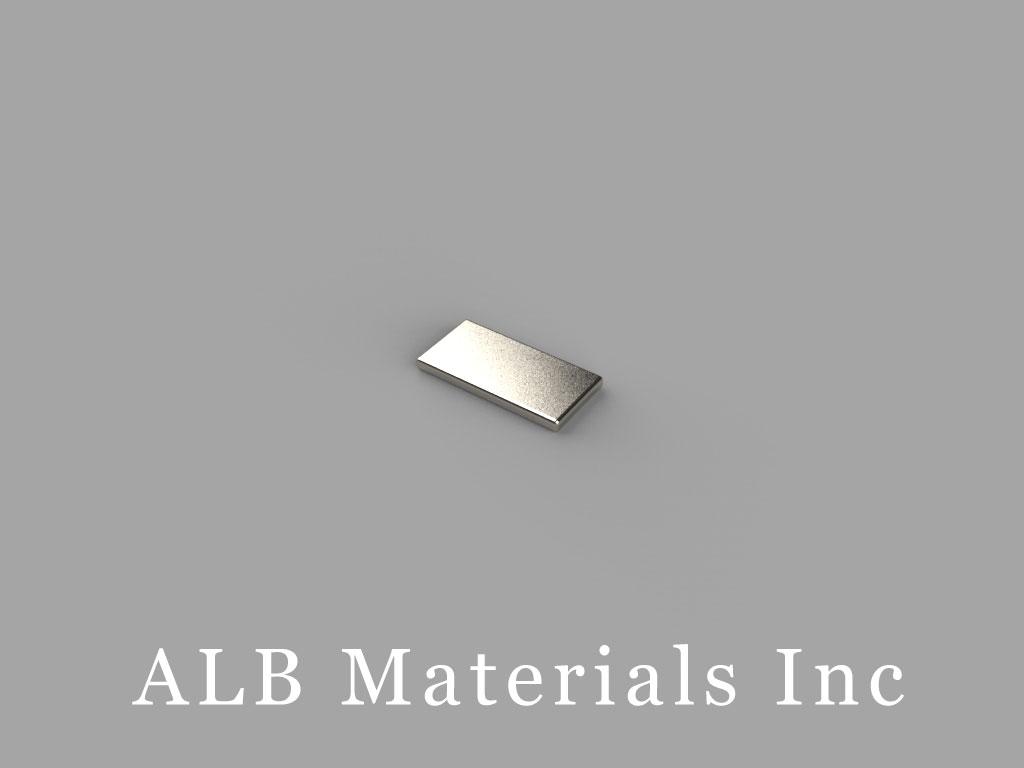 "B6301-N52 Neodymium Block Magnets, 3/8"" x 3/16"" x 1/32"" thick, Pull force(lbs): 1.05, Max Temp 80°C"