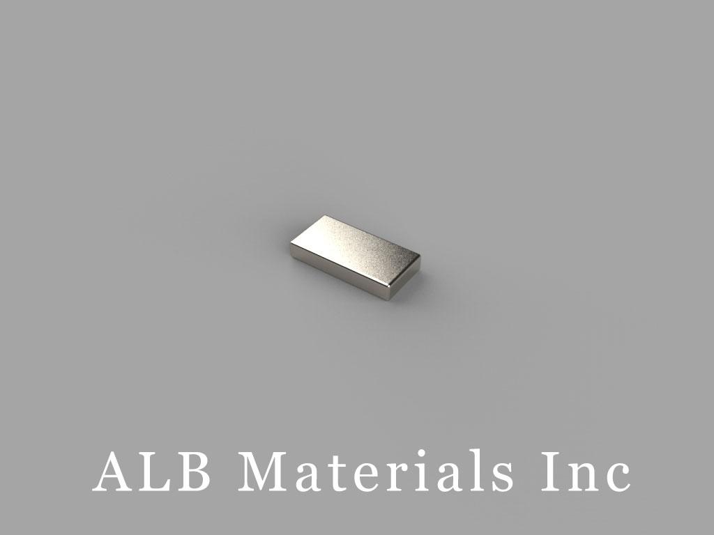 "B631-N52 Neodymium Block Magnets, 3/8"" x 3/16"" x 1/16"" thick, Pull force(lbs): 2.11, Max Temp 80°C"