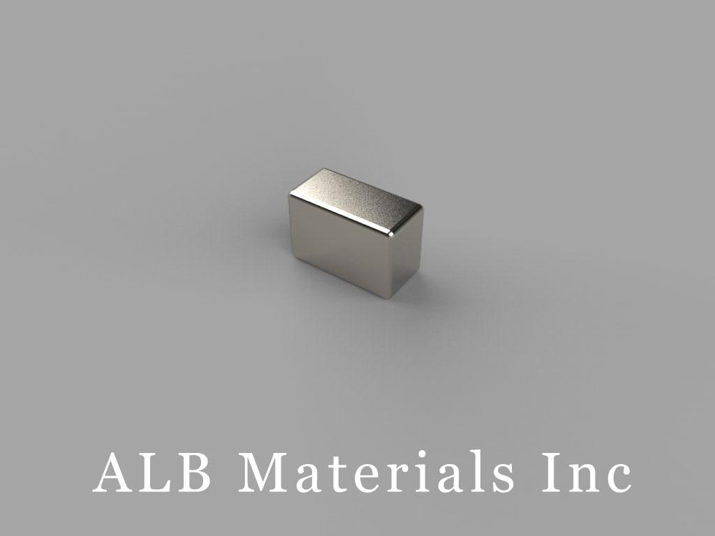 "B634-N50 Neodymium Block Magnets, 3/8"" x 3/16"" x 1/4"" thick, Pull force(lbs): 8.08, Max Temp 80°C"