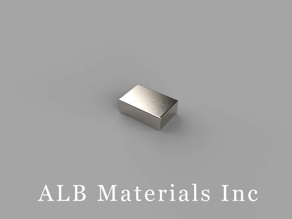 "B642-N48 Neodymium Block Magnets, 3/8"" x 1/4"" x 1/8"" thick, Pull force(lbs): 4.48, Max Temp 80°C"