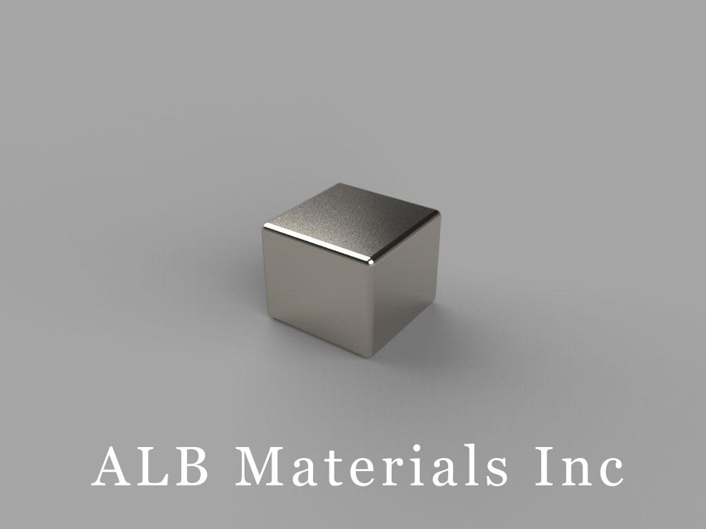 "B665-N50 Neodymium Block Magnets, 3/8"" x 3/8"" x 5/16"" thick, Pull force(lbs): 14.29, Max Temp 80°C"