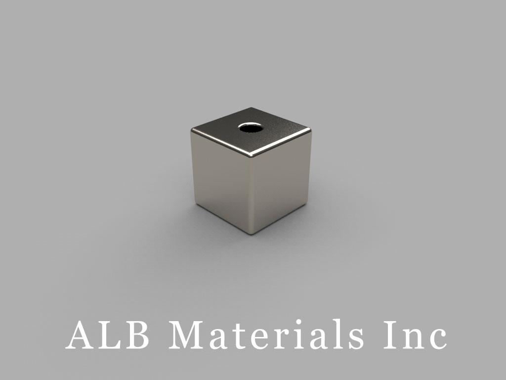 B666-03 Neodymium Magnets, 3/8 inch x 3/8 inchx 3/8 inch (- 3/32 inch hole)