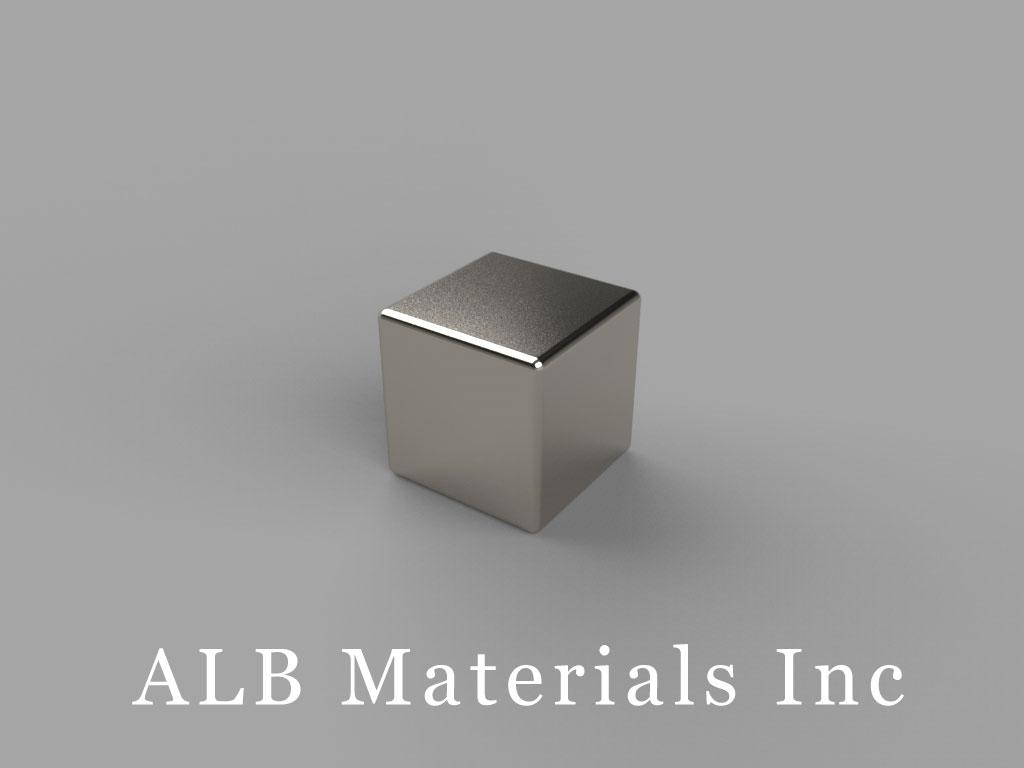 "B666-N38 Neodymium Block Magnets, 3/8"" x 3/8"" x 3/8"" thick, Pull force(lbs): 12.95, Max Temp 80°C"