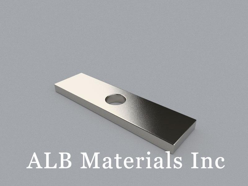 B-W20H5L75ID10-N45 Neodymium Magnet, 75x20x5mm with D10mm hole Block Magnet