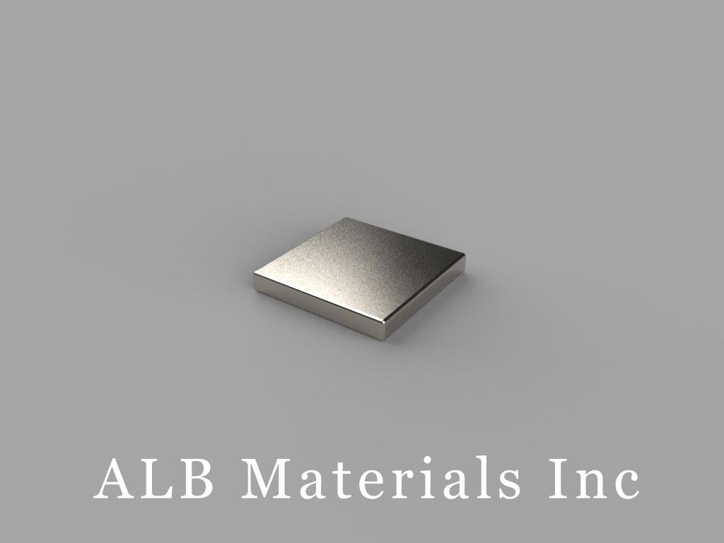 "B771-N45 Neodymium Block Magnets, 7/16"" x 7/16"" x 1/16"" thick, Pull force(lbs): 2.98, Max Temp 80°C"