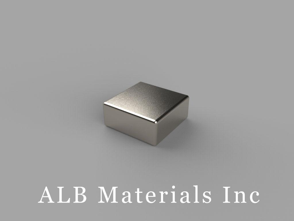 "B773-N42 Neodymium Block Magnets, 7/16"" x 7/16"" x 3/16"" thick, Pull force(lbs): 8.29, Max Temp 80°C"
