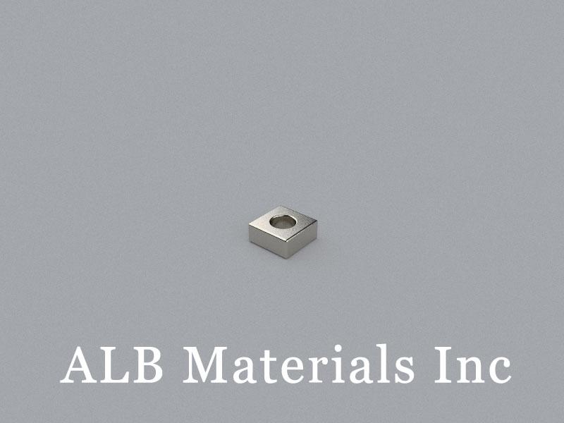 B-W7H3L7-D3.5-N35 Neodymium Magnet, 7x7x3mm with D3.5mm hole Block Magnet