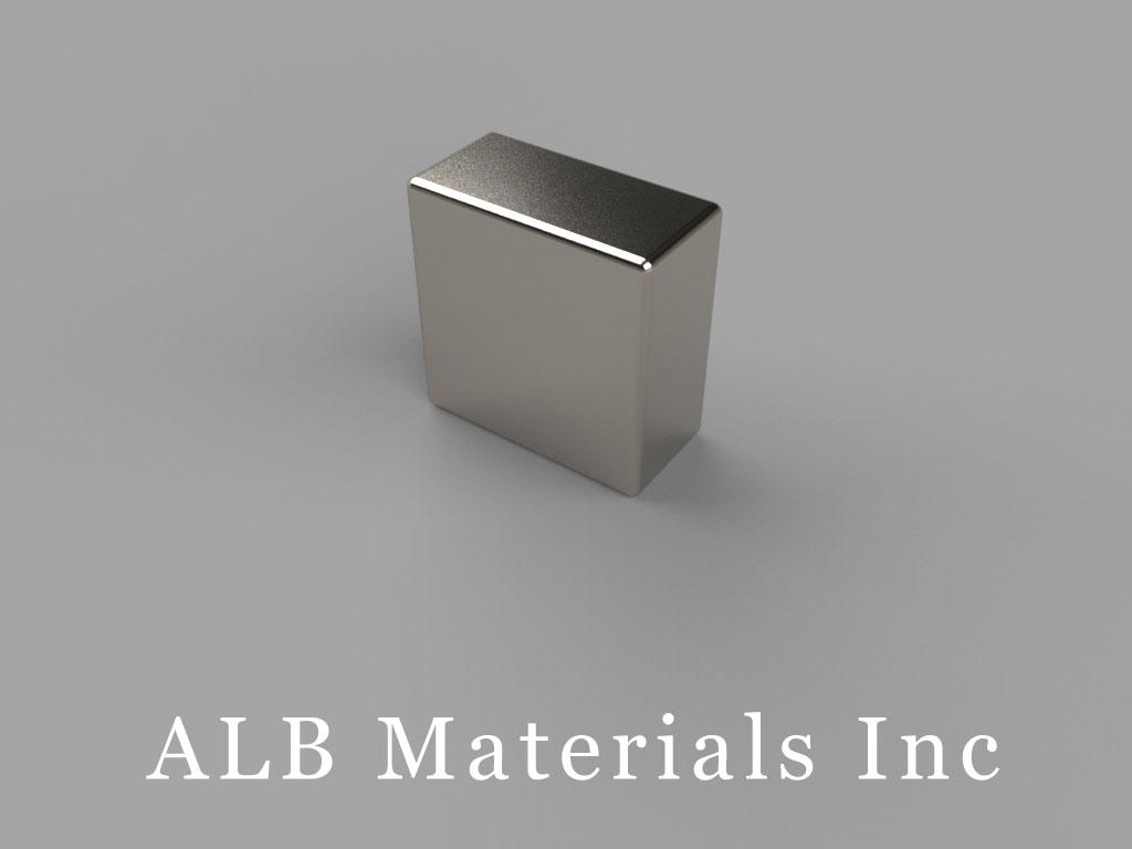 "B848-N48 Neodymium Block Magnets, 1/2"" x 1/4"" x 1/2"" thick, Pull force(lbs): 20.67, Max Temp 80°C"