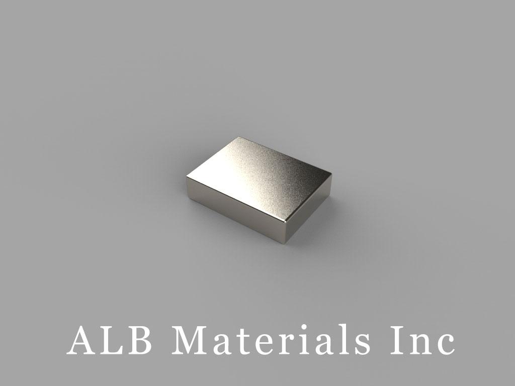 "B862-N38 Neodymium Block Magnets, 1/2"" x 3/8"" x 1/8"" thick, Pull force(lbs): 4.98, Max Temp 80°C"