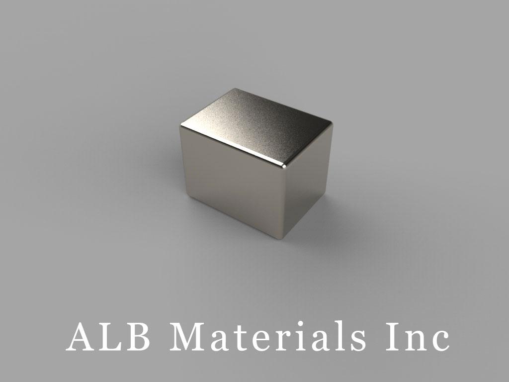 "B866-N50 Neodymium Block Magnets, 1/2"" x 3/8"" x 3/8"" thick, Pull force(lbs): 19.8, Max Temp 80°C"
