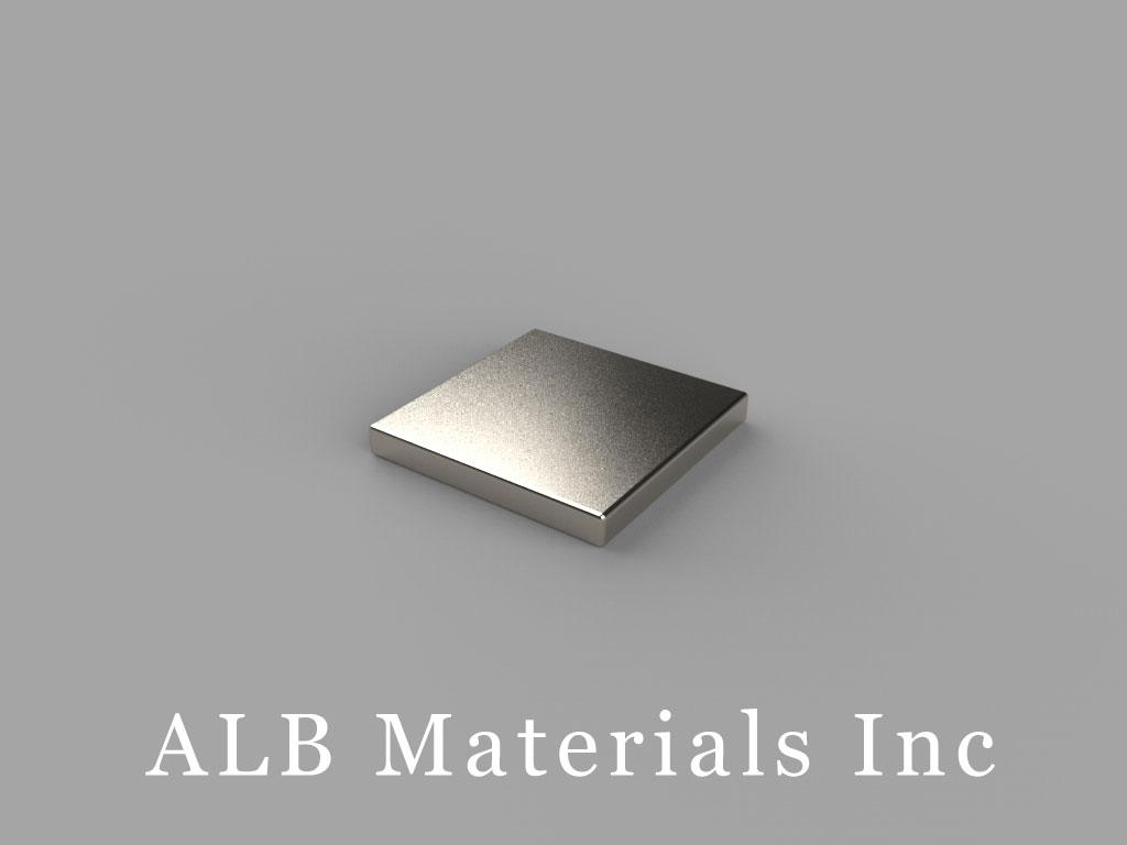 "B881-N38 Neodymium Block Magnets, 1/2"" x 1/2"" x 1/16"" thick, Pull force(lbs): 2.88, Max Temp 80°C"