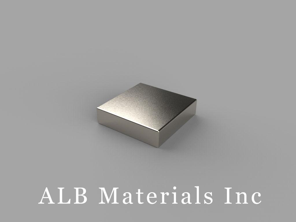 "B882-N42 Neodymium Block Magnets, 1/2"" x 1/2"" x 1/8"" thick, Pull force(lbs): 6.32, Max Temp 80°C"