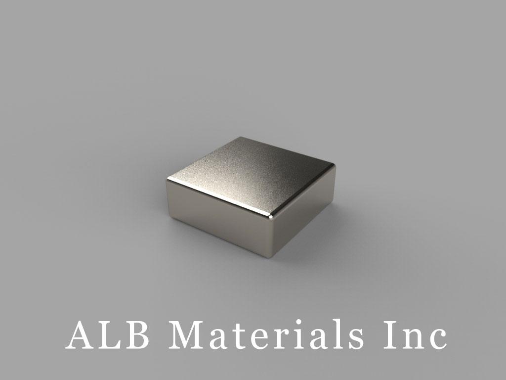 "B883-N45 Neodymium Block Magnets, 1/2"" x 1/2"" x 3/16"" thick, Pull force(lbs): 10.21, Max Temp 80°C"
