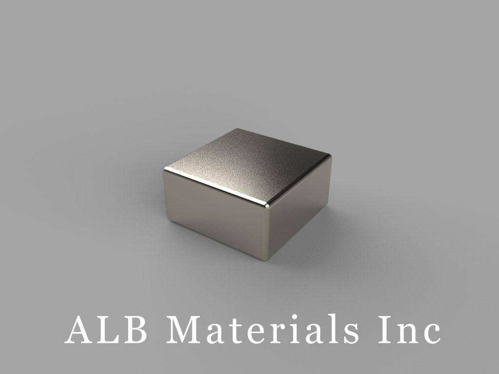 "B884-N48 Neodymium Block Magnets, 1/2"" x 1/2"" x 1/4"" thick, Pull force(lbs): 14.62, Max Temp 80°C"