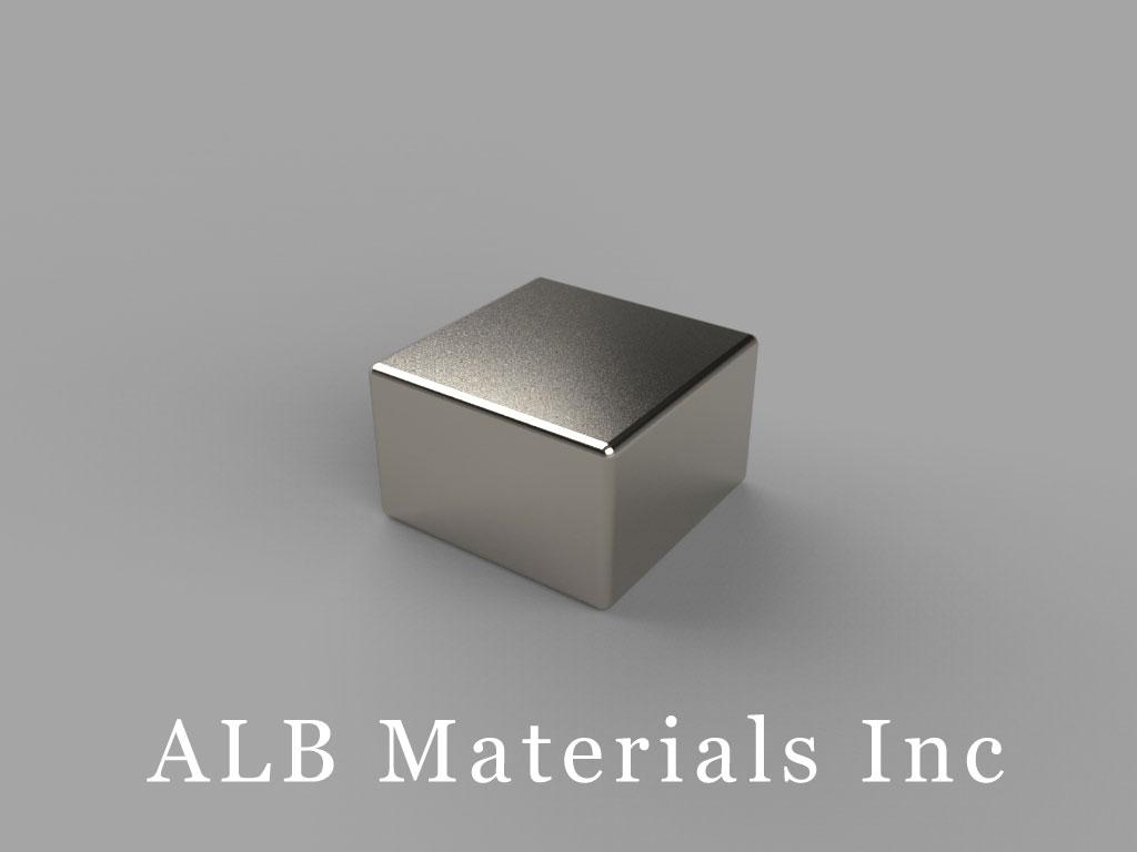"B885-N48 Neodymium Block Magnets, 1/2"" x 1/2"" x 5/16"" thick, Pull force(lbs): 18.27, Max Temp 80°C"