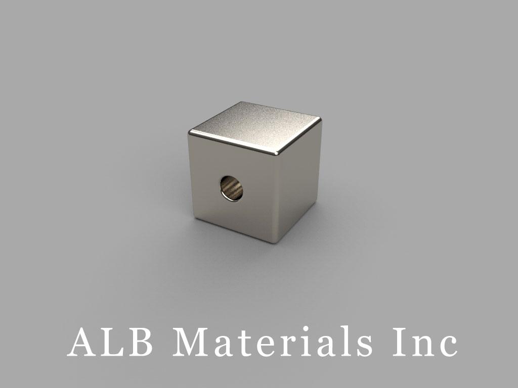 "B888-3 Neodymium Magnets, 1/2"" x 1/2""x 1/2"" (- 3/16"" hole)"