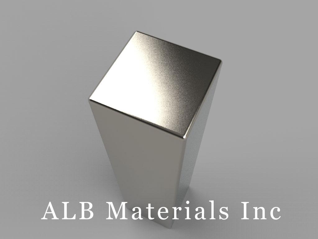 "B88Y0-N38 Neodymium Block Magnets, 1/2"" x 1/2"" x 2"" thick, Pull force(lbs): 92.08, Max Temp 80°C"