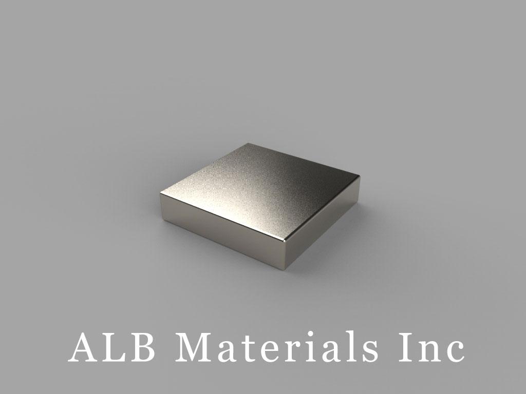 "B992-N45 Neodymium Block Magnets, 9/16"" x 9/16"" x 1/8"" thick, Pull force(lbs): 7.65, Max Temp 80°C"