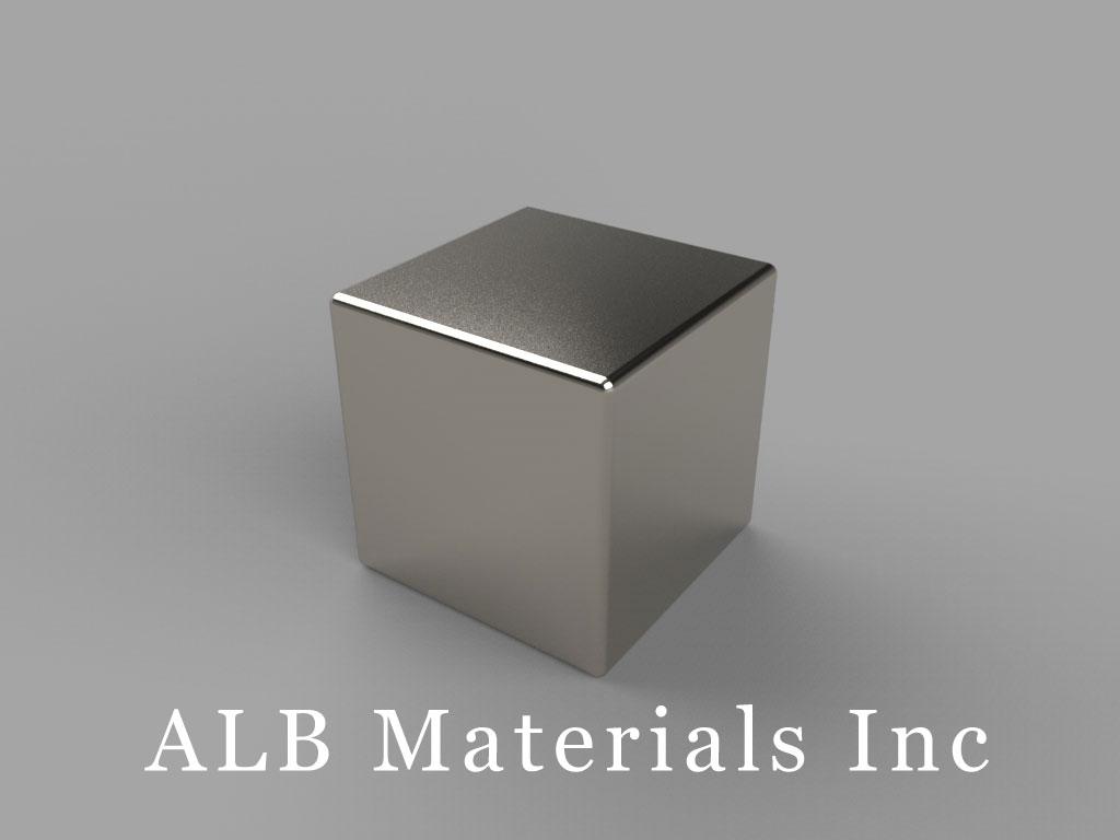"B999-N38 Neodymium Block Magnets, 9/16"" x 9/16"" x 9/16"" thick, Pull force(lbs): 29.13, Max Temp 80°C"