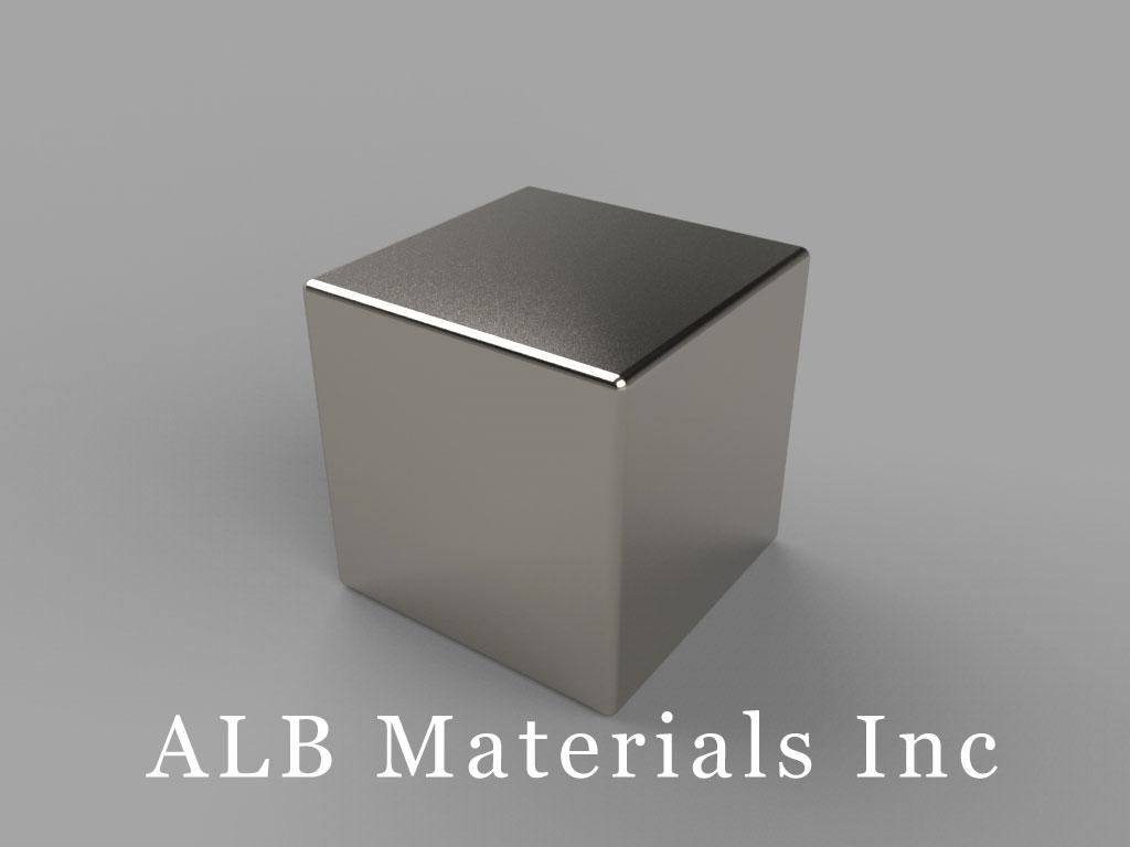 "BAAA-N52 Neodymium Block Magnets, 5/8"" x 5/8"" x 5/8"" thick, Pull force(lbs): 49.63, Max Temp 80°C"