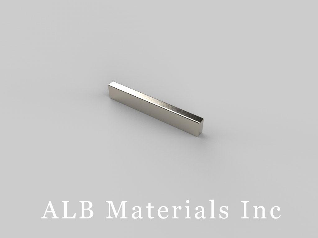 "BC12-N48 Neodymium Block Magnets, 3/4"" x 1/16"" x 1/8"" thick, Pull force(lbs): 3.17, Max Temp 80°C"