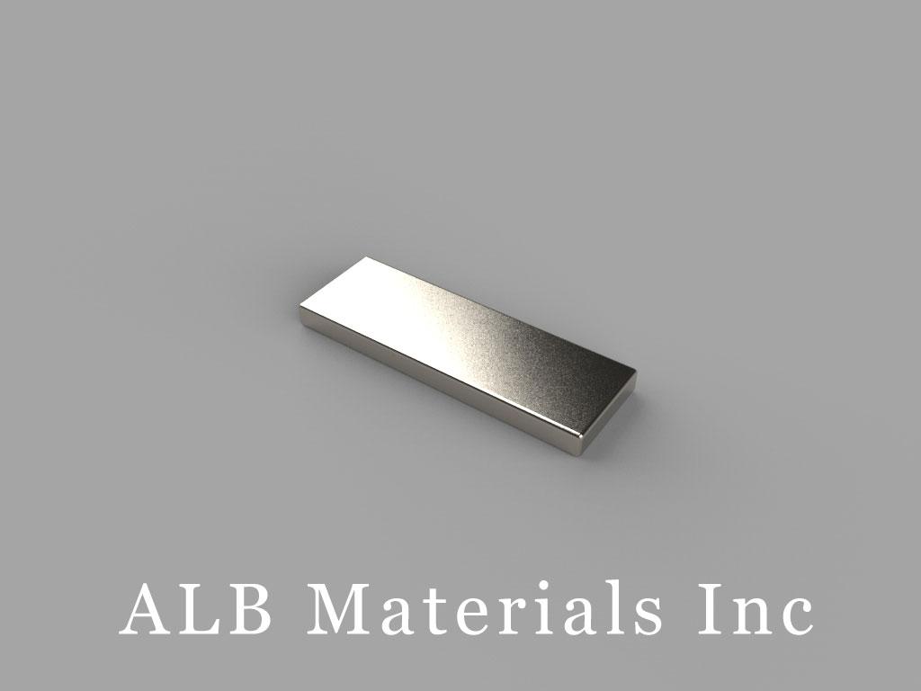 "BC41-N38 Neodymium Block Magnets, 3/4"" x 1/4"" x 1/16"" thick, Pull force(lbs): 2.49, Max Temp 80°C"