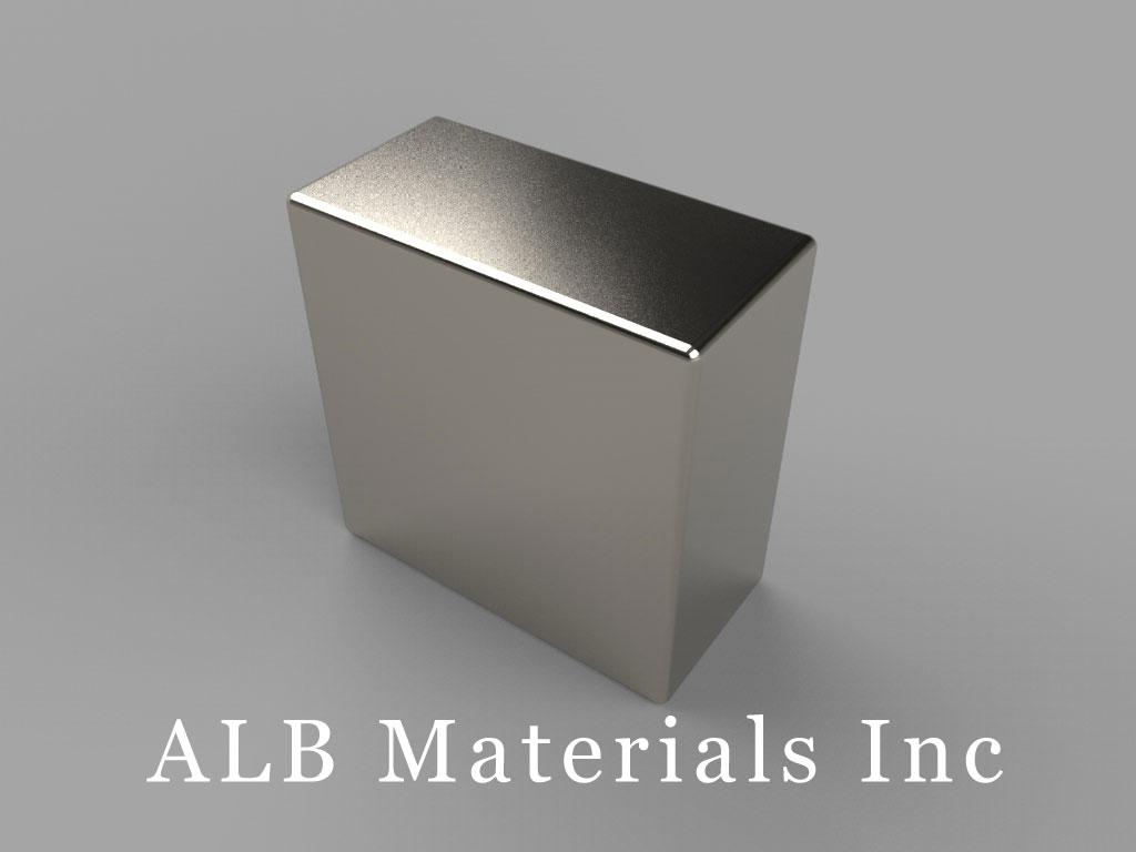 "BC6C-N35 Neodymium Block Magnets, 3/4"" x 3/8"" x 3/4"" thick, Pull force(lbs): 33.78, Max Temp 80°C"