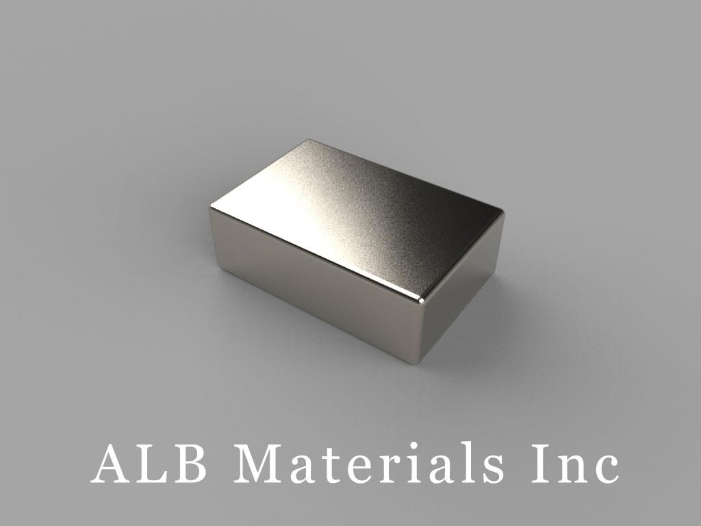 "BC84-N35 Neodymium Block Magnets, 3/4"" x 1/2"" x 1/4"" thick, Pull force(lbs): 13, Max Temp 80°C"