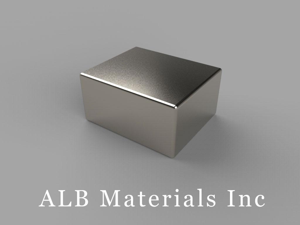 "BCA6-N35 Neodymium Block Magnets, 3/4"" x 5/8"" x 3/8"" thick, Pull force(lbs): 21.8, Max Temp 80°C"