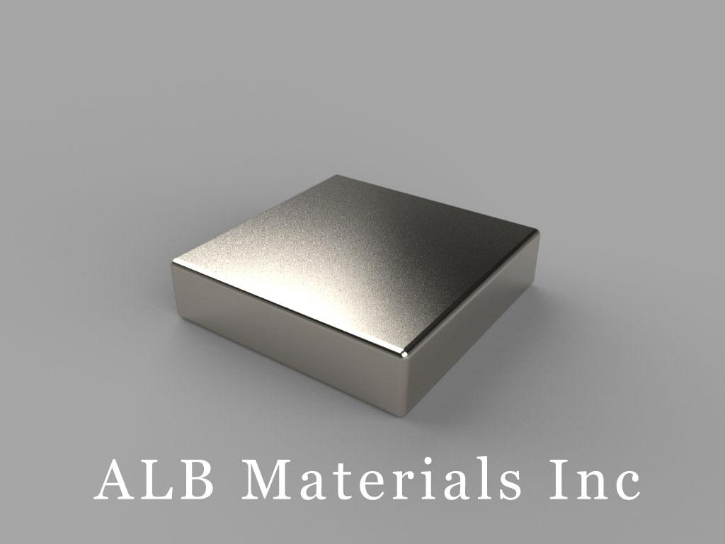 "BCC3-N50 Neodymium Block Magnets, 3/4"" x 3/4"" x 3/16"" thick, Pull force(lbs): 17.15, Max Temp 80°C"