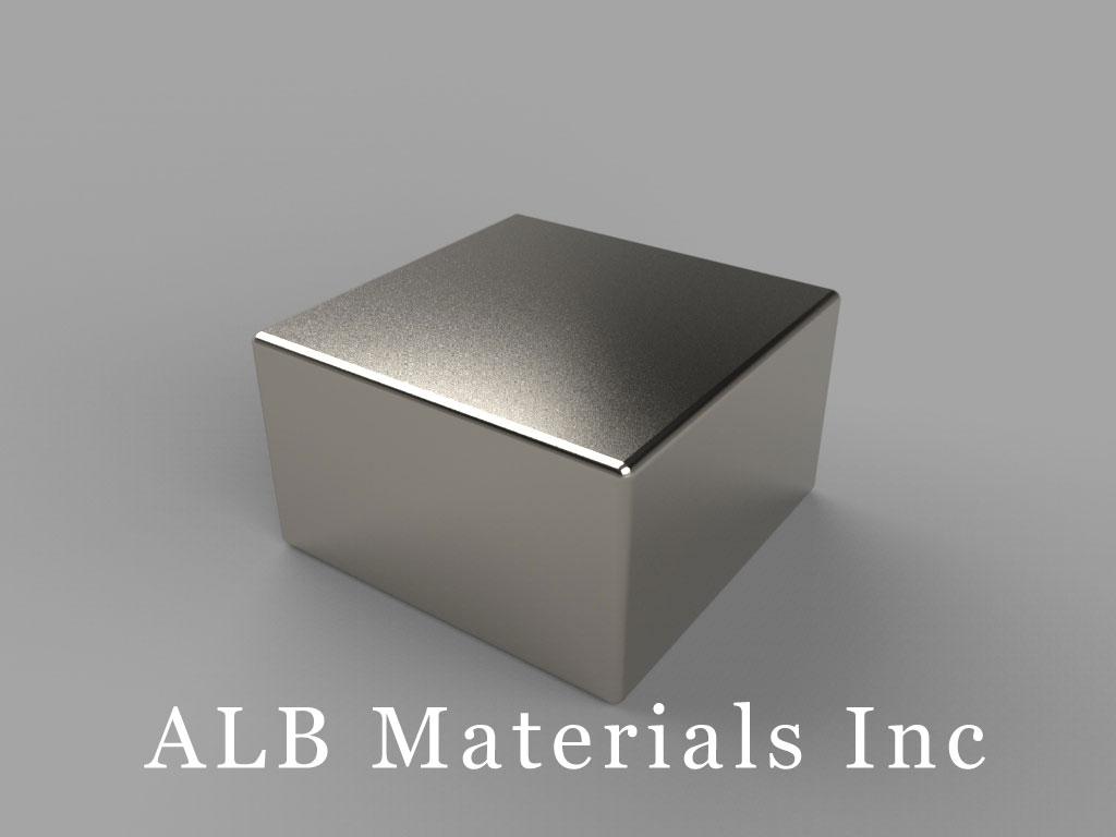 "BCC7-N48 Neodymium Block Magnets, 3/4"" x 3/4"" x 7/16"" thick, Pull force(lbs): 38.37, Max Temp 80°C"