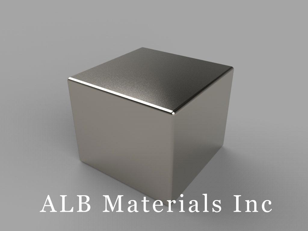 "BCCA-N52 Neodymium Block Magnets, 3/4"" x 3/4"" x 5/8"" thick, Pull force(lbs): 59.55, Max Temp 80°C"