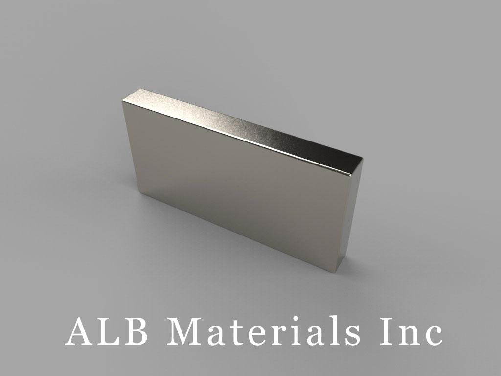 "BX028-N50 Neodymium Block Magnets, 1"" x 1/8"" x 1/2"" thick, Pull force(lbs): 21.56, Max Temp 80°C"