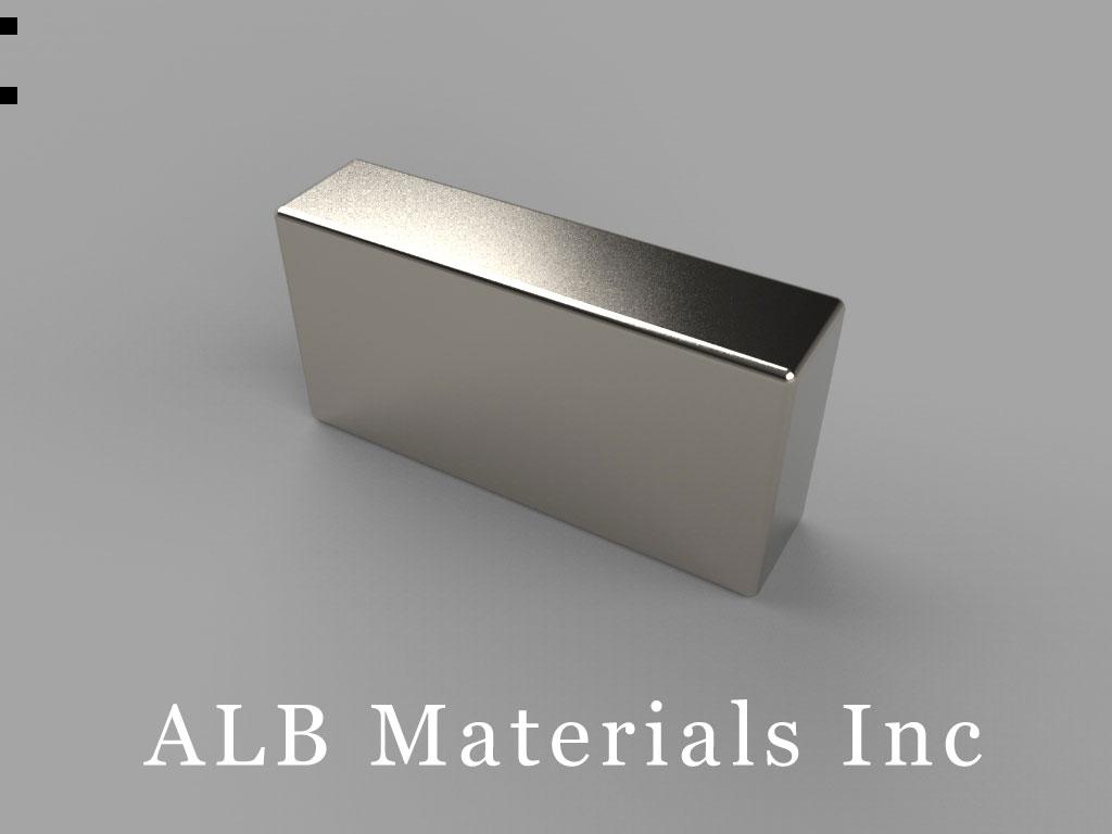 "BX048-N45 Neodymium Block Magnets, 1"" x 1/4"" x 1/2"" thick, Pull force(lbs): 27.22, Max Temp 80°C"