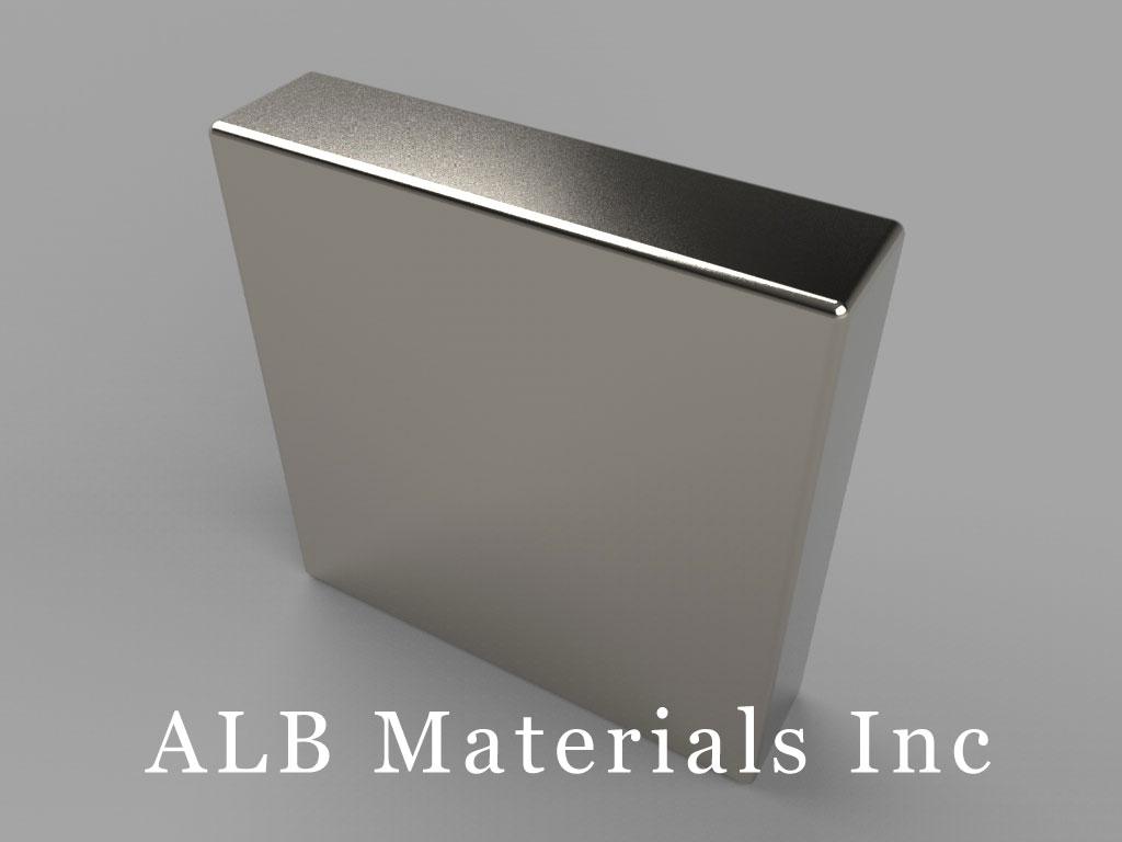 "BX04X0-N45 Neodymium Block Magnets, 1"" x 1/4"" x 1"" thick, Pull force(lbs): 54.43, Max Temp 80°C"