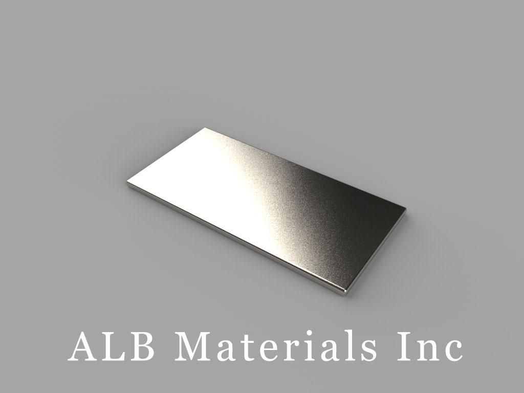 "BX0801-N52 Neodymium Block Magnets, 1"" x 1/2"" x 1/32"" thick, Pull force(lbs): 2.81, Max Temp 80°C"